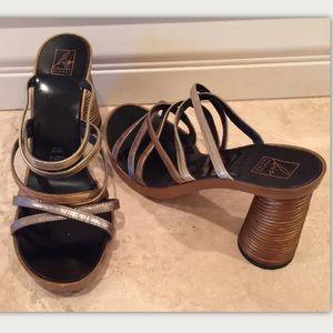 CHARLES JOURDAN Vtg 80s Metallic Leather Heels NEW